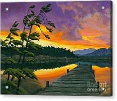 Acrylic Print featuring the painting After Glow - Oil / Canvas by Michael Swanson