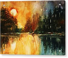 Acrylic Print featuring the painting Northern Sunset by Al Brown