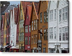 Norway, Bergen Warehouse Architecture Acrylic Print by Kymri Wilt