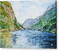 Acrylic Print featuring the painting Norway Fjord by Irina Sztukowski