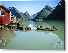 Reflection Of A Boat And A Boathouse In A Fjord In Norway Acrylic Print