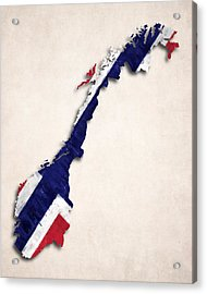 Norway Map Art With Flag Design Acrylic Print