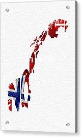 Norway Typographic Map Flag Acrylic Print by Ayse Deniz
