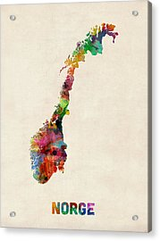 Norway Watercolor Map Acrylic Print by Michael Tompsett