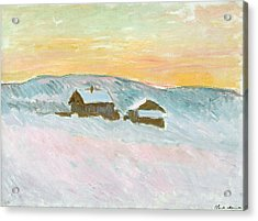 Norwegian Landscape, Blue Houses, 1895 Acrylic Print by Claude Monet