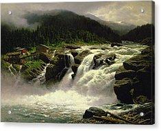Norwegian Waterfall Acrylic Print by Karl Paul Themistocles van Eckenbrecher
