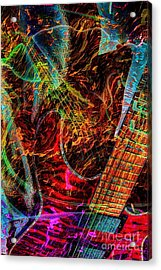 Notes On Fire Digital Guitar Art By Steven Langston Acrylic Print by Steven Lebron Langston