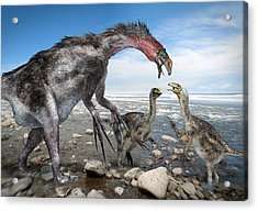 Nothronychus Dinosaur Family, Artwork Acrylic Print by Science Photo Library