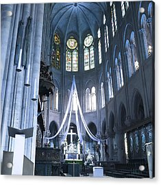 Notre Dame Altar Teal Paris France Acrylic Print by Evie Carrier