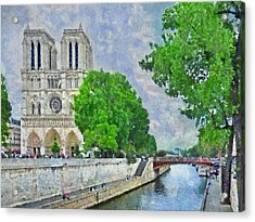 Notre Dame And The River Seine Acrylic Print