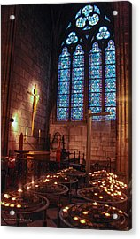 Notre Dame Candles Acrylic Print by Ross Henton