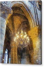 Notre-dame Chandelier Acrylic Print by Rick Lloyd