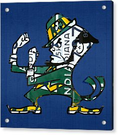 Notre Dame Fighting Irish Leprechaun Vintage Indiana License Plate Art  Acrylic Print by Design Turnpike