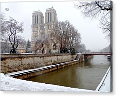 Notre Dame In Winter Acrylic Print by Amelia Racca