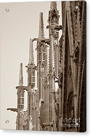 Notre Dame Sentries Sepia Acrylic Print