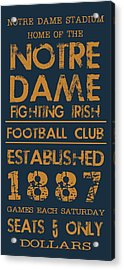 Notre Dame Stadium Sign Acrylic Print by Jaime Friedman