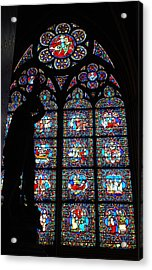 Notre Dame Stained Glass Silhouette Acrylic Print by Jennifer Ancker