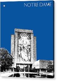 Notre Dame University Skyline Hesburgh Library - Royal Blue Acrylic Print by DB Artist