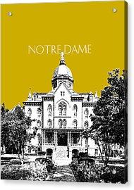 Notre Dame University Skyline Main Building - Gold Acrylic Print by DB Artist