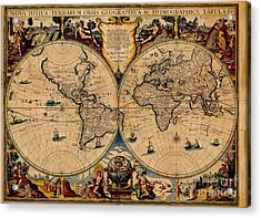 Nova Totius Terrarum Orbis Geographica Ac Hydrographica Tabula Old World Map Acrylic Print by Inspired Nature Photography Fine Art Photography