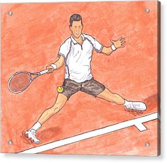 Novak Djokovic Sliding On Clay Acrylic Print by Steven White
