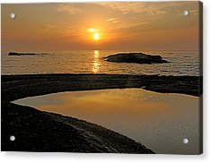 November Sunrise II - Lake Superior Acrylic Print by Sandra Updyke