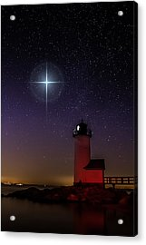 Star Over Annisquam Lighthouse Acrylic Print by Jeff Folger
