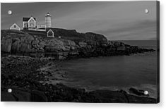 Nubble Light At Sunset Bw Acrylic Print by Susan Candelario