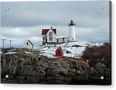 Acrylic Print featuring the photograph Nubble Light In December by Barbara McDevitt