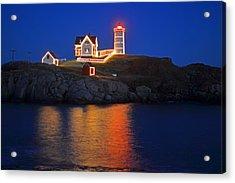 Nubble Light In York Me Cape Neddick Christmas Blue Sky Acrylic Print