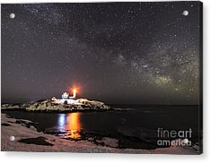 Nubble Light With Milky Way Acrylic Print