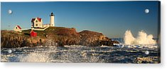 Nubble Light With Rough Seas Acrylic Print