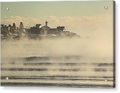Nubble Lighthouse Cape Neddick Sea Smoke Acrylic Print by John Burk