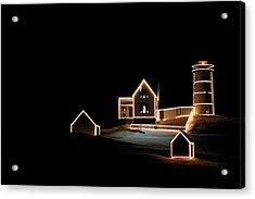 Nubble Lighthouse Christmas Lights Acrylic Print by Denyse Duhaime