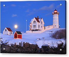 Nubble Lighthouse Full Moon And Holiday Lights Acrylic Print