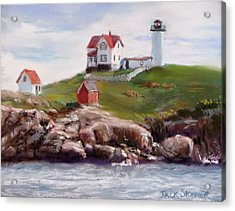 Nubble Lighthouse In Pastel Acrylic Print by Jack Skinner