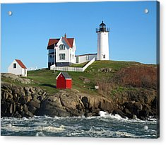 Nubble Lighthouse One Acrylic Print by Barbara McDevitt