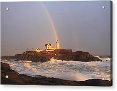 Nubble Lighthouse Rainbow And High Surf Acrylic Print