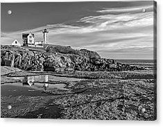Nubble Lighthouse Reflections Bw Acrylic Print