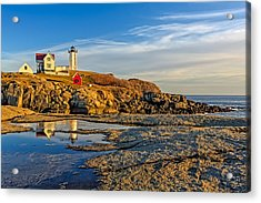 Nubble Lighthouse Reflections Acrylic Print by Susan Candelario