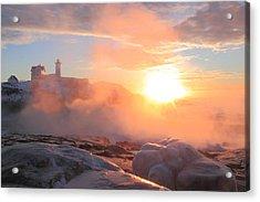 Nubble Lighthouse Sea Smoke Sunrise Fog Acrylic Print by John Burk