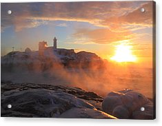 Nubble Lighthouse Sea Smoke Sunrise Acrylic Print by John Burk