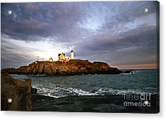 Nubble Lighthouse Acrylic Print by Skip Willits