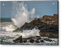 Nubble Lighthouse Waves 1 Acrylic Print by Scott Thorp