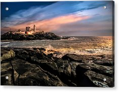 Nubble Lighthouse Winter Solstice Sunset Acrylic Print by Bob Orsillo