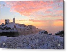 Nubble Lighthouse Winter Sunrise Acrylic Print by John Burk