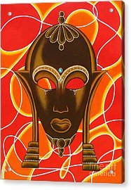 Nubian Modern Mask With Red And Orange Acrylic Print