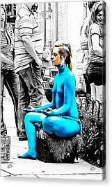 Nude A La Smurf Acrylic Print by John Haldane