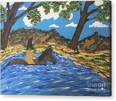 Acrylic Print featuring the painting Nude And Bareback Swim by Jeffrey Koss