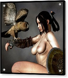 Nude Athena With Owl And Shield Acrylic Print